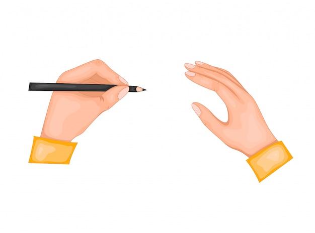 Congratulazioni per la giornata internazionale dei mancini. illustrazione di due mani. nella mano sinistra, una penna o una matita. isolato su uno sfondo bianco.