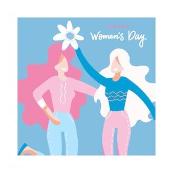 Congratulazioni per la giornata internazionale della donna con due donne in possesso di un grande fiore, ragazze che abbracciano.