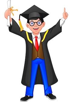 Congratulazioni ragazzo giovane laureato