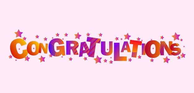 Congratulazioni saluto design di sfondo con forma a stella