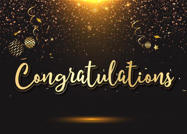 Congratulazioni: tipografia, scritte, scritte a mano con palloncini, coriandoli ed elementi festivi,