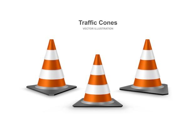 Coni di traffico impostati. coni di plastica rossi realistici strada con strisce bianche