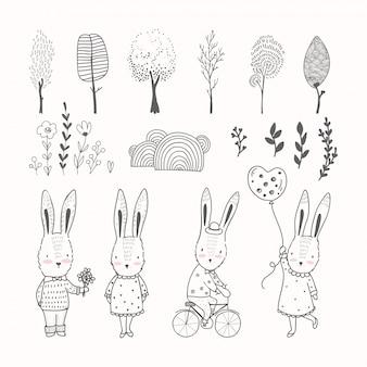 Conigli disegnati a mano e raccolta di elementi di doodle
