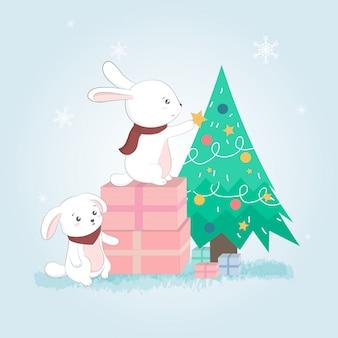 Conigli e albero di natale carino, cartolina di buon natale