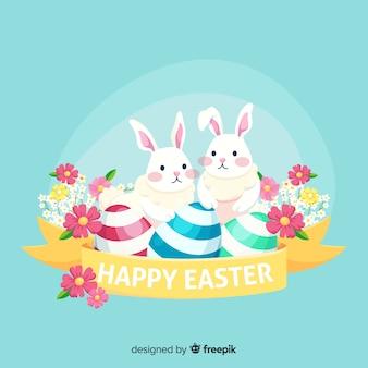 Conigli e uova sfondo di pasqua