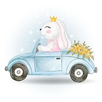 Coniglietta carina alla guida di un'auto con un cesto di fiori