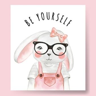 Coniglietta carina con gli occhiali illustrazione dell'acquerello arredamento vivaio