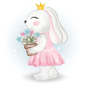 Coniglietta sveglia che tiene un vaso di fiore