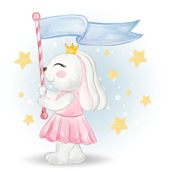 Coniglietta sveglia che tiene una bandiera di parata