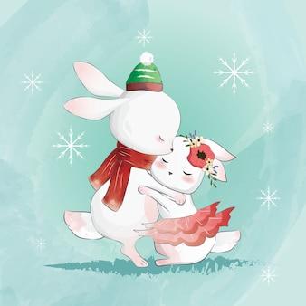 Coniglietti carini che si abbracciano