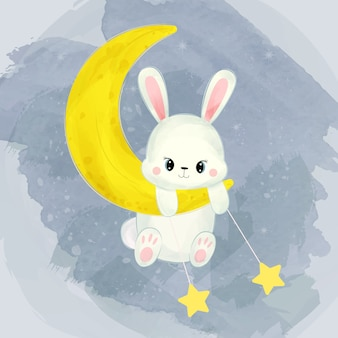 Coniglietto bambino giocando con la luna e le stelle