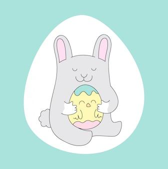 Coniglietto carino con uovo di pasqua