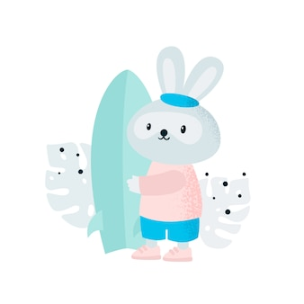 Coniglietto coniglio carino sport con surf sulla spiaggia
