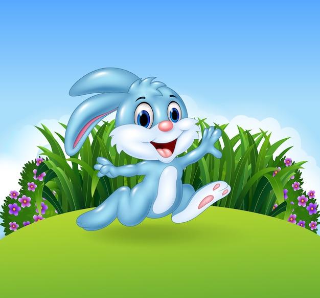 Coniglietto dei cartoni animati in esecuzione nella giungla