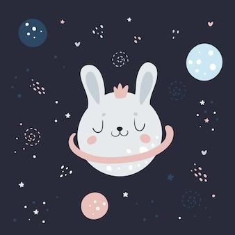 Coniglietto di coniglio carino nello spazio nel cielo cosmico notte fantasia con pianeti