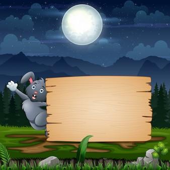 Coniglietto di pasqua con il segno in bianco al paesaggio notturno