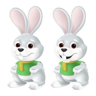 Coniglietto di pasqua sveglio in sciarpa gialla e camicia verde con i grandi occhi e le orecchie isolati su fondo bianco. illustrazione divertente del personaggio della mascotte di coniglio grigio sorridente nello stile del fumetto 3d