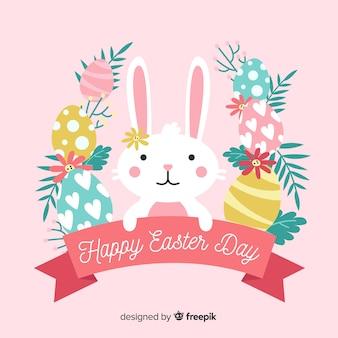 Coniglietto disegnato a mano con priorità bassa di giorno di pasqua della corona dell'uovo