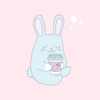 Coniglietto divertente con una tazza di tè, caffè