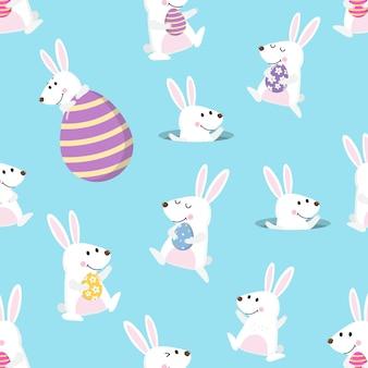 Coniglietto felice e uova di pasqua senza cuciture