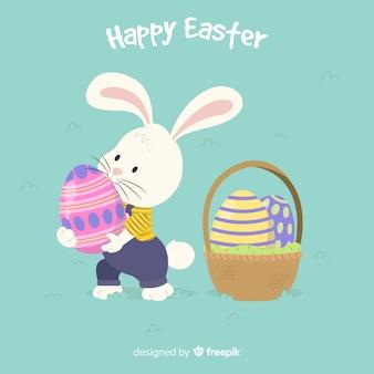 Coniglietto prendendo un uovo di pasqua sfondo
