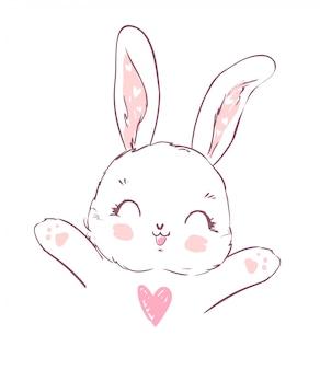 Coniglietto simpatico cartone animato disegnato a mano
