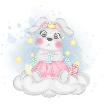 Coniglietto sveglio che tiene l'illustrazione dell'acquerello dell'uovo di pasqua