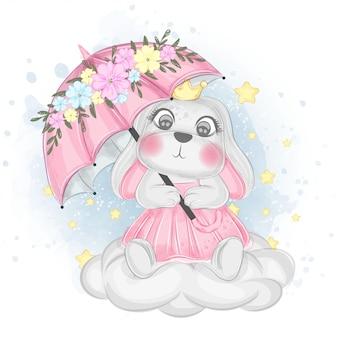 Coniglietto sveglio con l'ombrello sopra l'illustrazione dell'acquerello del cielo