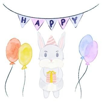 Coniglio ad acquerello - festa di compleanno