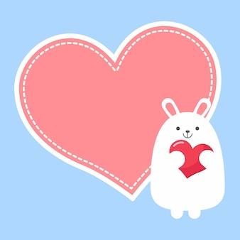 Coniglio adorabile del simpatico cartone animato con grande cuore rosa