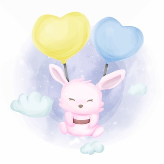 Coniglio baby con palloncini adorabili