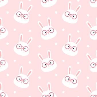 Coniglio carino con sfondo trasparente modello occhiali