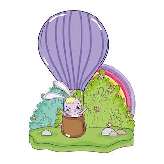 Coniglio carino volare in mongolfiera aria calda giorno di san valentino