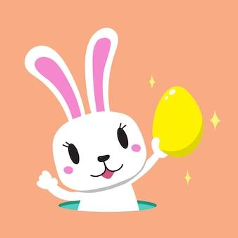 Coniglio cartone animato con uovo di pasqua