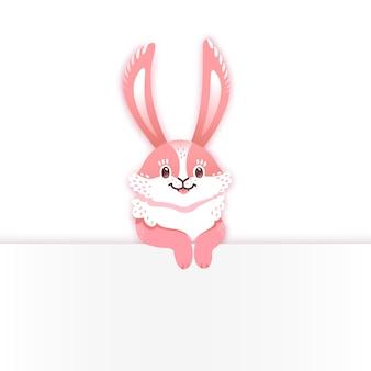 Coniglio cartone animato sorridente. coniglio divertente. lepre carina