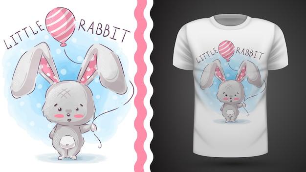 Coniglio con mongolfiera - idea per t-shirt stampata
