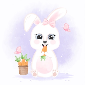 Coniglio del bambino che mangia una carota e una merce nel carrello delle carote