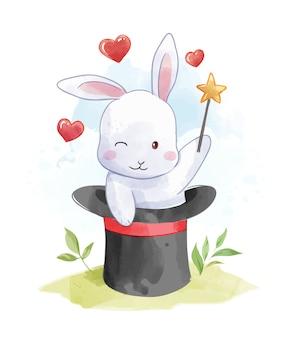 Coniglio del fumetto nell'illustrazione del cappello del mago
