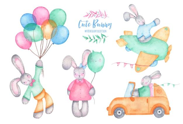 Coniglio di coniglietto sveglio di buona pasqua dell'acquerello con gli aerostati sull'automobile e sull'aereo