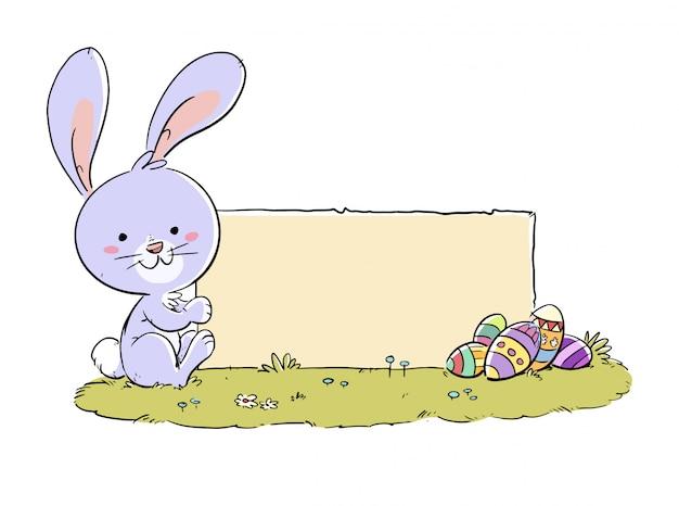 Coniglio di pasqua con poster e uova