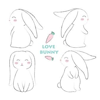 Coniglio disegnato a mano stile carino