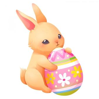 Coniglio e easter egg, illustrazione vettoriale