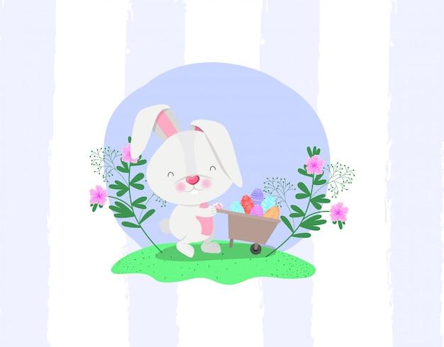 Coniglio e uovo in carriola