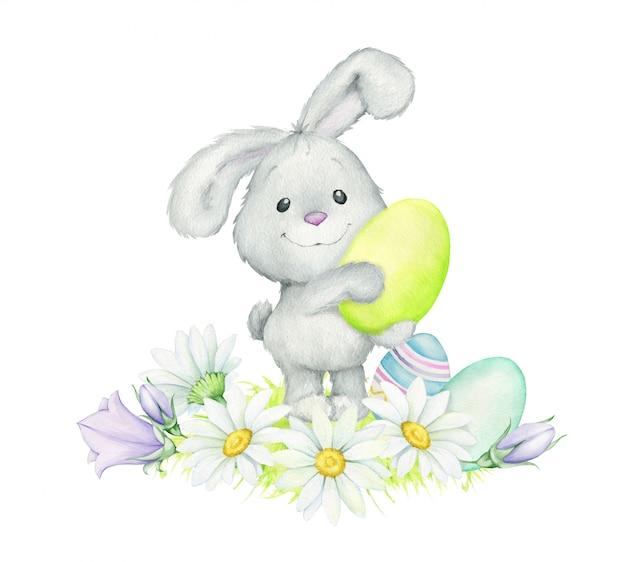 Coniglio, in piedi, con in mano un uovo di pasqua. acquerello