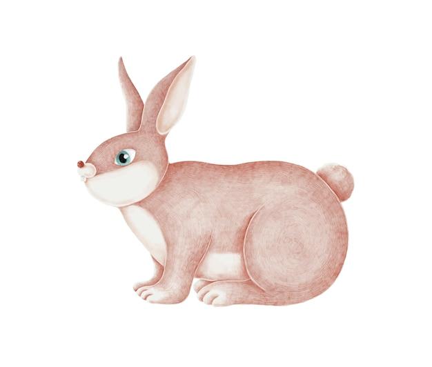 Coniglio rosa disegnato a mano su uno sfondo bianco