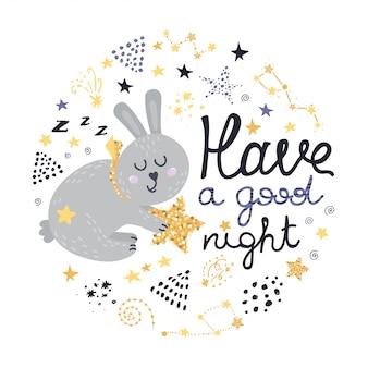 Coniglio, stelle e design lettering
