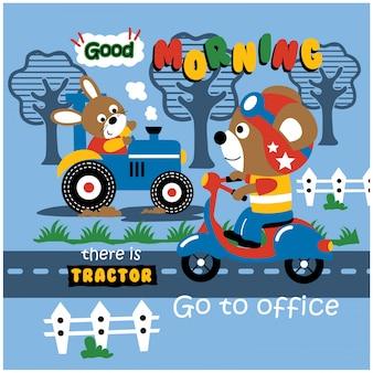Coniglio sul trattore e orso sullo scooter, illustrazione di cartone animato animale divertente