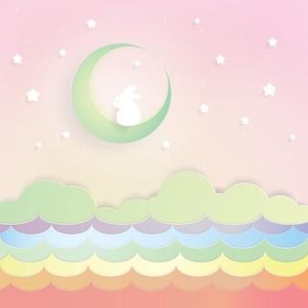 Coniglio sulla luna e mare arcobaleno, arte di carta, taglio di carta, vettore di artigianato, design