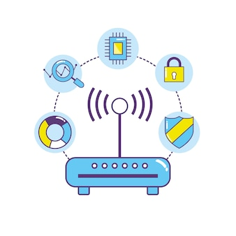 Connessione del centro dati tecnologia router wifi