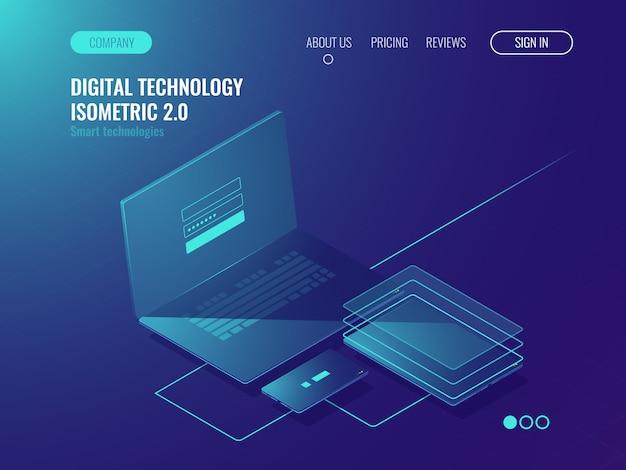 Connessione di dispositivi a una rete, concetto di archiviazione dati cloud, sala server